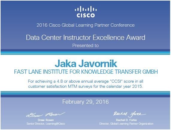 Data Center Instructor Excellence award
